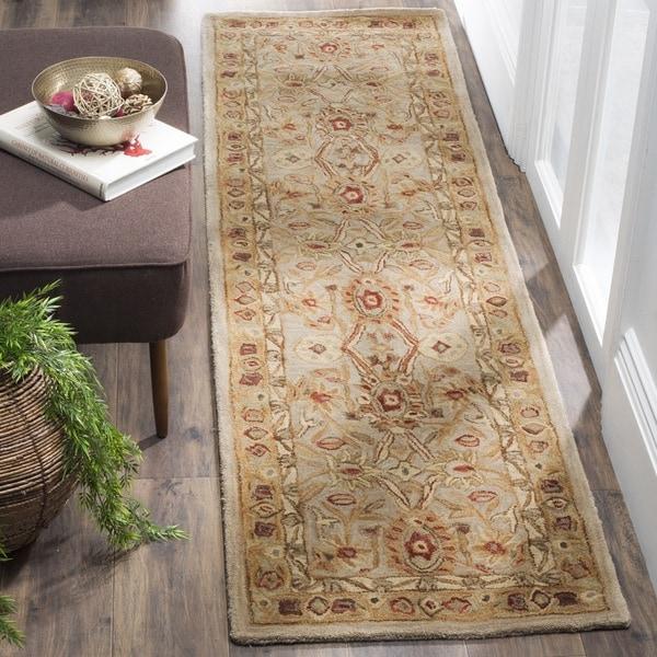 Safavieh Handmade Anatolia Oriental Grey Beige/ Sage Green Hand-spun Wool Rug (2'3 x 8')