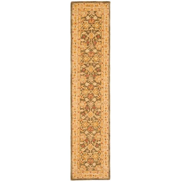 Safavieh Handmade Anatolia Farahan Olive Grey/ Beige Wool Rug (2'3 x 10')