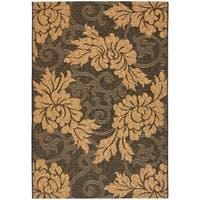 Safavieh Black/Natural Indoor/Outdoor Floral-Patterned Rug - 8' X 11'