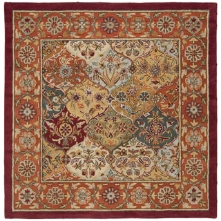 Safavieh Handmade Heritage Traditional Bakhtiari Multi/Red Wool Area Rug (8' Square)