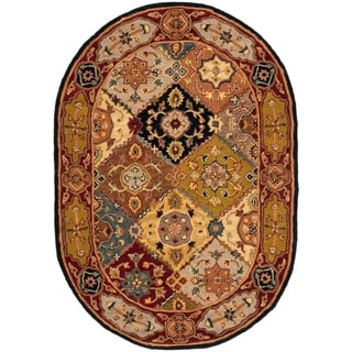 Safavieh Handmade Heritage Traditional Bakhtiari Multi/ Red Wool Rug (4'6 x 6'6 Oval)