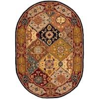 """Safavieh Handmade Heritage Traditional Bakhtiari Multi/ Red Wool Rug - 7'6"""" x 9'6"""" oval"""