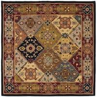 Safavieh Handmade Heritage Traditional Bakhtiari Multi/ Red Wool Rug - 8' x 8' Square