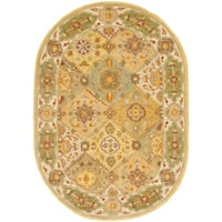 """Safavieh Handmade Heritage Traditional Bakhtiari Multi/ Ivory Wool Rug - 4'6"""" x 6'6"""" Oval"""