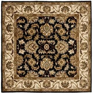 Safavieh Handmade Heritage Traditional Kashan Black/ Beige Wool Rug (6' Square)