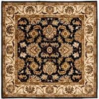 Safavieh Handmade Heritage Traditional Kashan Black/ Beige Wool Rug - 6' x 6' Square