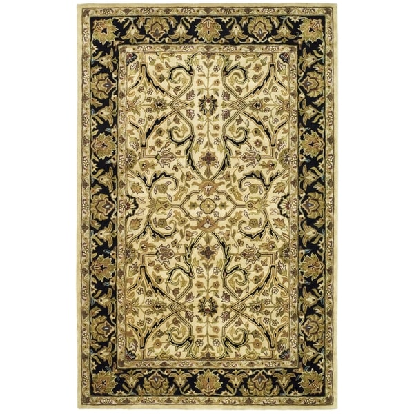 Safavieh Handmade Heritage Timeless Traditional Ivory/ Black Wool Rug - 7'6 x 9'6