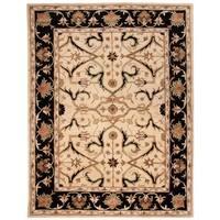 "Safavieh Handmade Heritage Timeless Traditional Ivory/ Black Wool Rug - 7'6"" x 9'6"""