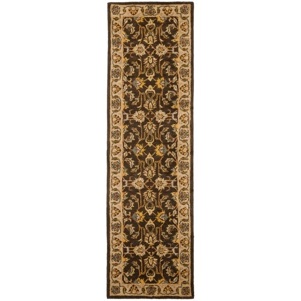 Safavieh Handmade Heritage Timeless Traditional Brown/ Ivory Wool Runner (2'3 x 12')