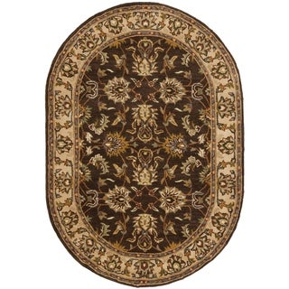 Safavieh Handmade Heritage Timeless Traditional Brown/ Ivory Wool Rug (4'6 x 6'6 Oval)