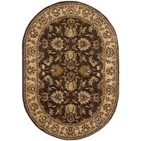 "Safavieh Handmade Heritage Timeless Traditional Brown/ Ivory Wool Rug - 4'6"" x 6'6"" oval"