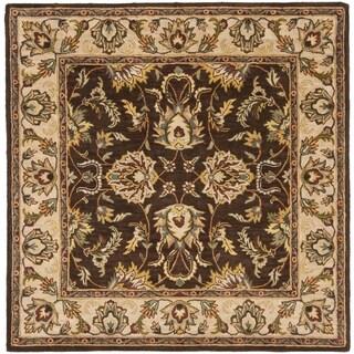Safavieh Handmade Heritage Timeless Traditional Brown/ Ivory Wool Rug - 6' x 6' Square