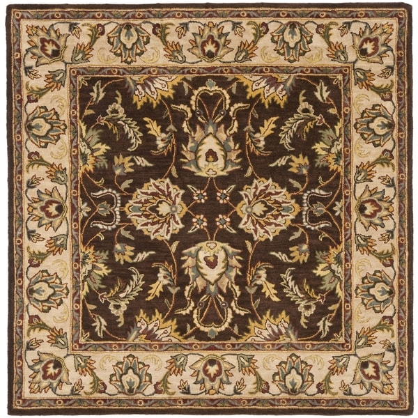 Safavieh Handmade Heritage Timeless Traditional Brown/ Ivory Wool Rug (6' Square)