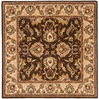 Safavieh Handmade Heritage Timeless Traditional Brown/ Ivory Wool Rug - 6' x 6' Square
