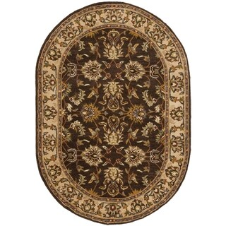 Safavieh Handmade Heritage Timeless Traditional Brown/ Ivory Wool Rug (7'6 x 9'6 Oval)