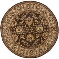 Safavieh Handmade Heritage Timeless Traditional Brown/ Ivory Wool Rug (8' Round)