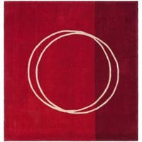 Safavieh Handmade Rodeo Drive Modern Abstract Red/ Ivory Wool Rug - 6' x 6' Square