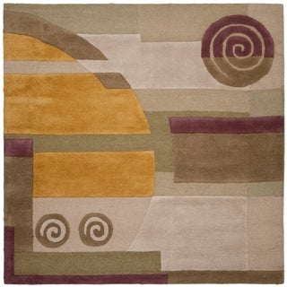 Safavieh Handmade Rodeo Drive Ralda Mid-Century Modern Abstract Wool Rug (8 x 8 Square - Beige)
