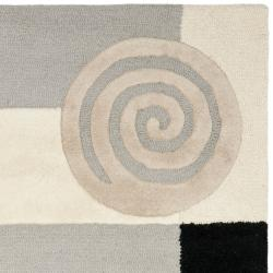 Safavieh Handmade Rodeo Drive Modern Abstract Ivory/ Grey Wool Rug (6' Square) - Thumbnail 1