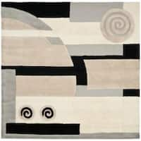 Safavieh Handmade Rodeo Drive Modern Abstract Ivory/ Grey Wool Rug - 6' x 6' Square