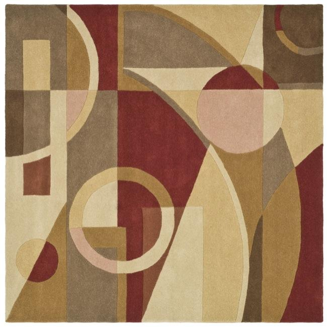 Safavieh Handmade Rodeo Drive Modern Abstract Beige/ Multi Wool Rug (6' Square) - 6' Square