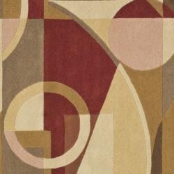 Safavieh Handmade Rodeo Drive Modern Abstract Beige/ Multi Wool Rug (6' Square) - Thumbnail 2