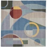 Safavieh Handmade Rodeo Drive Modern Abstract Blue/ Multi Wool Rug (6' Square) - 6'