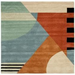 Safavieh Handmade Rodeo Drive Modern Abstract Blue/ Rust Wool Rug (6' Square)