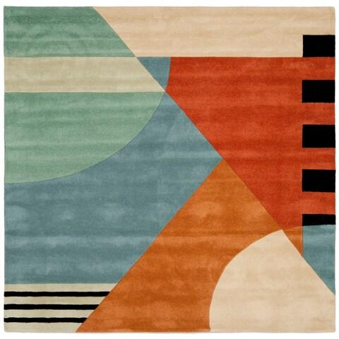 Safavieh Handmade Rodeo Drive Modern Abstract Blue/ Rust Wool Rug - 6' x 6' Square