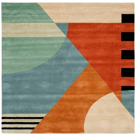 Safavieh Handmade Rodeo Drive Modern Abstract Blue/ Rust Wool Rug - 8' x 8' Square
