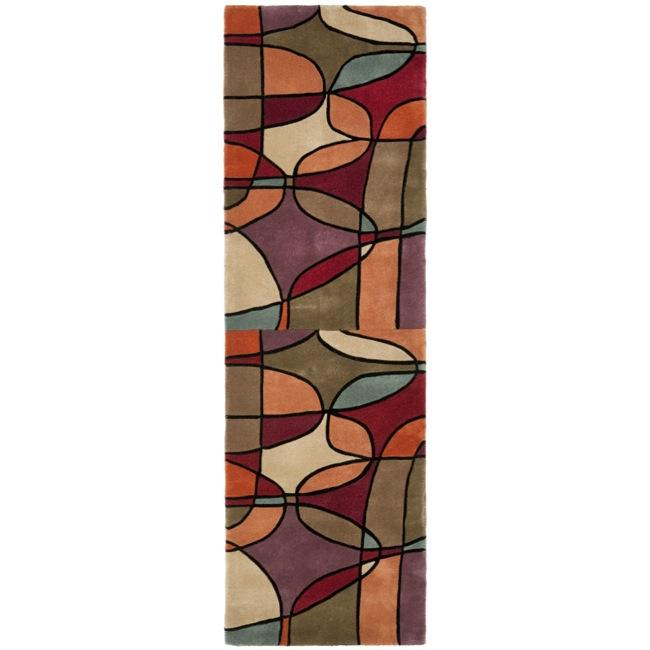 Safavieh Handmade Rodeo Drive Modern Abstract Multicolored Wool Runner (2'6 x 8')