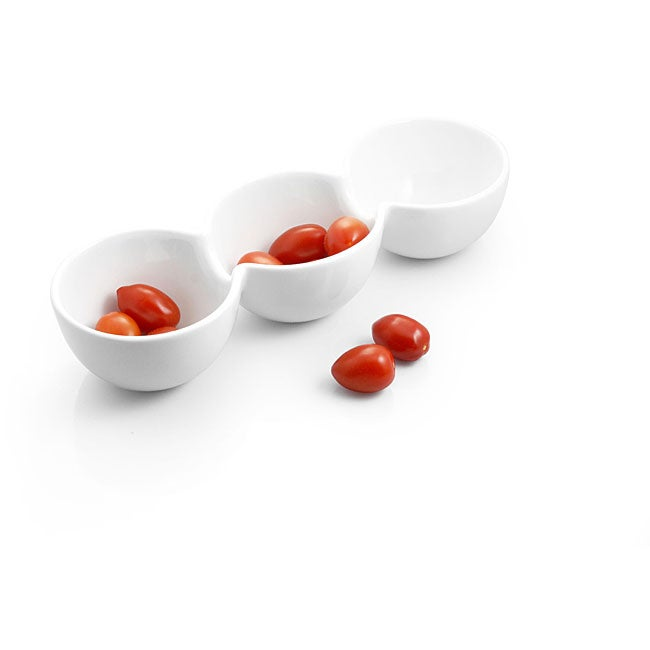 White Porcelain 3-section Rounded Divided Dish