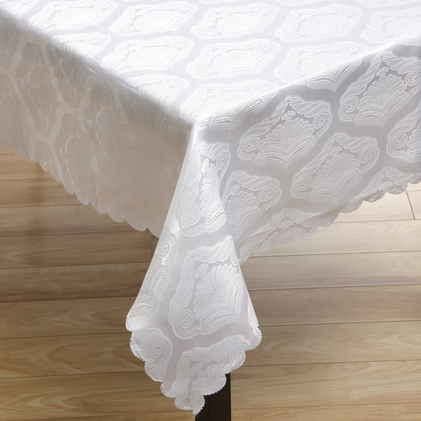 White on White Shell Jacquard Tablecloth 95 inch