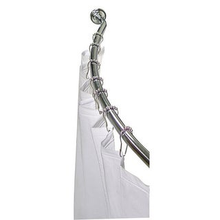 Easy-install Adjustable Curved Metal One-inch Space-saver Shower Rod by Elegant Home Fashions (3 options available)