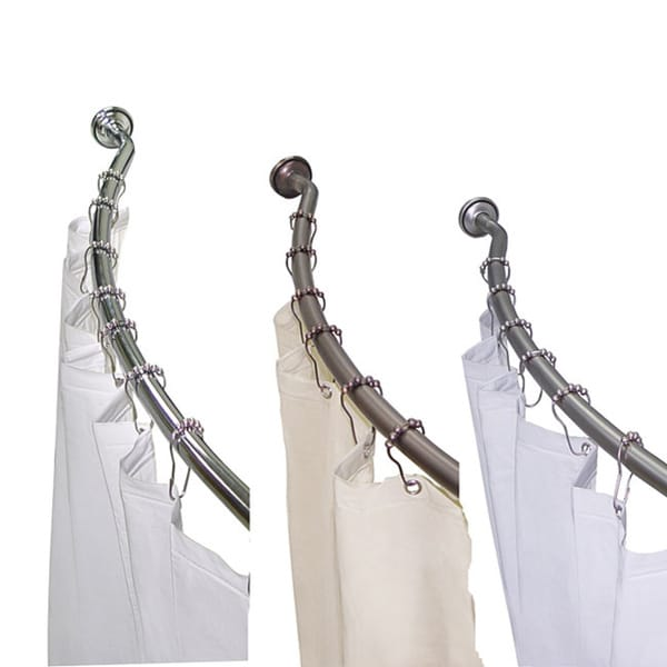 Curved Adjustable Shower Rod with Vinyl Shower Liner and Hooks Set by ...