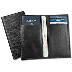 Dacasso Black Croco-Embossed Leather Document/ Passport Holder