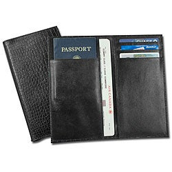Dacasso Black Croco-Embossed Leather Document/ Passport Holder