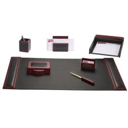 Dacasso Wood/ Leather 7-piece Desk Set