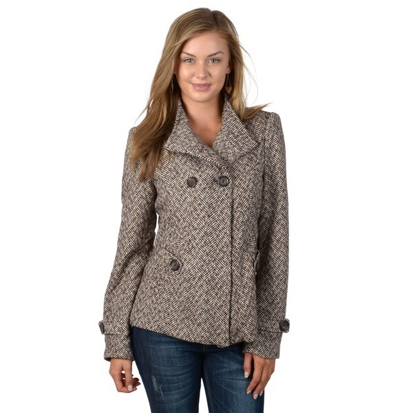 Ci Sono by Adi Juniors Herringbone Wool Blend Coat
