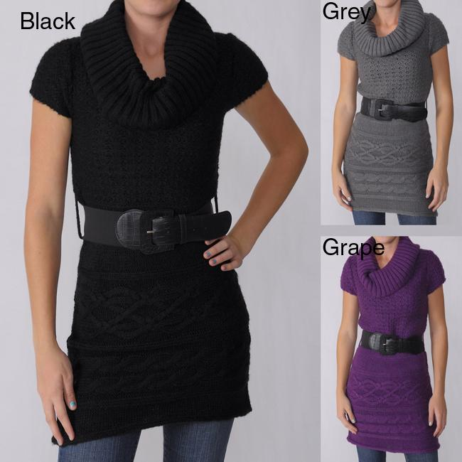 Ci Sono by Adi Juniors Short-sleeve Cable Sweater Tunic