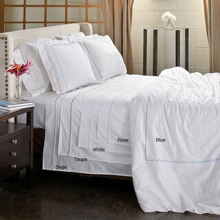 Scallop Embroidery 300 Thread Count Cotton Percale 3-piece Duvet Cover Set (More options available)