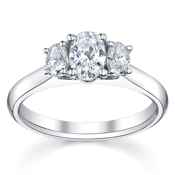 14k White Gold 3/4ct TDW Diamond 3-Stone Engagement Ring (H-I, SI1-SI2)