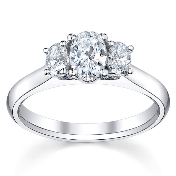 14k White Gold 1 1/2ct TDW Oval Diamond Ring
