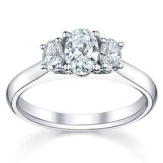 14k White Gold 1 1/2ct TDW Oval Diamond Ring (H-I, SI1-SI2)