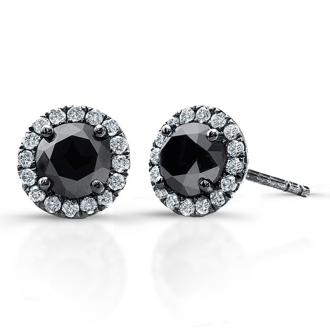 Victoria Kay 14k White Gold 3/4ct TDW Black and White Diamond Halo Earrings