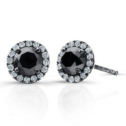 Victoria Kay 14k White Gold 3/4ct TDW Black and White Diamond Halo Earrings(I-J, I1)
