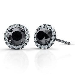 Victoria Kay 14k White Gold 3/4ct TDW Black and White Diamond Halo Earrings