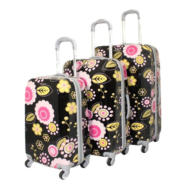 Rockland Vision Black/ Pink Flower 3-pc Hardside Spinner Luggage ...