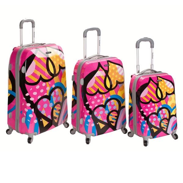Rockland Vision Pink Heart 3-piece Hardside Spinner Luggage Set
