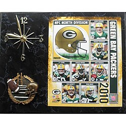 2010 Green Bay Packers Quartz Clock with Black Marble Finish